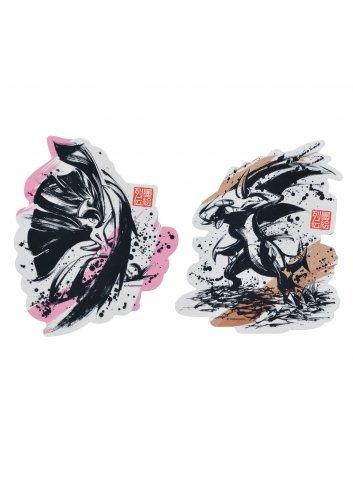 Sticker (x2 set) Sumie Retsuden Mega Erureido & Gaburias | Mega
